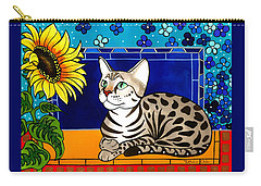 Beauty In Bloom - Savannah Cat Painting Carry-all Pouch
