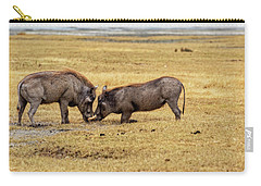 Carry-all Pouch featuring the photograph Beauty On The Hoof, The Warthog by Kay Brewer