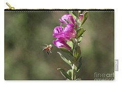 Bee Flying Towards Ultra Violet Texas Ranger Flower Carry-all Pouch