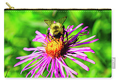 Carry-all Pouch featuring the photograph Bee On Pink Flower by Meta Gatschenberger