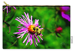Carry-all Pouch featuring the photograph Bee On Purple Flower by Meta Gatschenberger