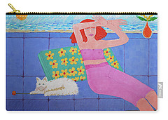 A Woman And Ralph Her Cat Carry-all Pouch