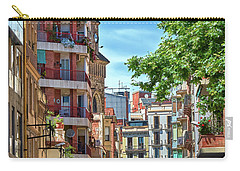 Carry-all Pouch featuring the photograph Bell Tower And Apartments In Barcelona by Eduardo Jose Accorinti