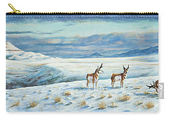 Carry-all Pouch featuring the painting Belt Butte Winter by Kim Lockman