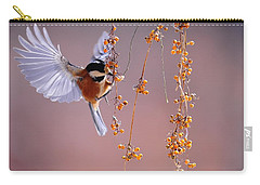 Carry-all Pouch featuring the photograph Bird Eating On The Fly by Top Wallpapers