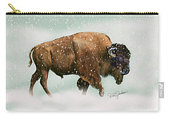 Bison In Snow Storm Carry-all Pouch