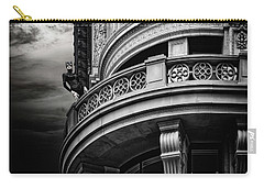 Carry-all Pouch featuring the photograph Black Cat On A Fifth Avenue Balcony by Chris Lord