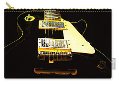 Black Guitar With Gold Accents Carry-all Pouch