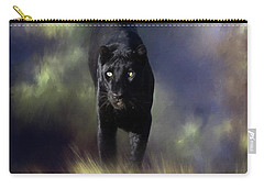 Black Leopard In The Grass Carry-all Pouch