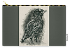 Carry-all Pouch featuring the drawing Blackbird In The Grass by MM Anderson