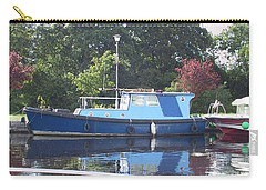 Carry-all Pouch featuring the painting Blue Boat At Cloondara Harbour. by Val Byrne