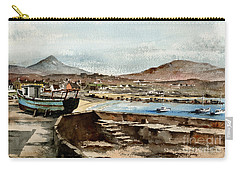 Carry-all Pouch featuring the painting Blue Boat At Greystones Harbour by Val Byrne