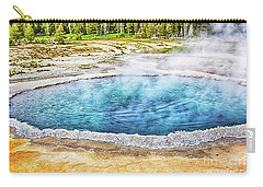 Carry-all Pouch featuring the photograph Blue Crested Pool At Yellowstone National Park by Tatiana Travelways