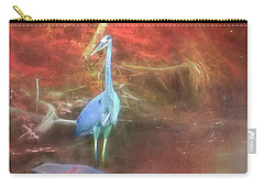 Blue Heron Red Background Carry-all Pouch