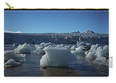 Blue Icebergs Floating Along Storm Arctic Coast Panorama Carry-all Pouch