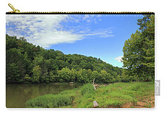 Carry-all Pouch featuring the photograph Blue Sky At Cumberland River by Angela Murdock