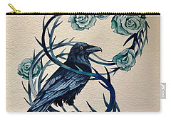 Carry-all Pouch featuring the painting Blue Thorn Raven by Camille Rendal