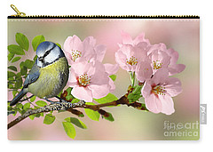 Blue Tit On Apple Blossom Carry-all Pouch