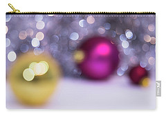 Carry-all Pouch featuring the photograph Blurry Christmas Background With Christmas Balls And Bokeh by Cristina Stefan