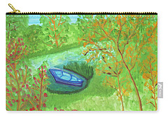 Carry-all Pouch featuring the painting Boat In A Quiet Backwater by Dobrotsvet Art