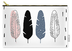 Boho Feathers - Boho Chic Ethnic Nursery Art Poster Print Carry-all Pouch