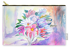 Carry-all Pouch featuring the painting Bouquet By The Window by Dobrotsvet Art