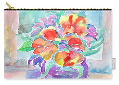Carry-all Pouch featuring the painting Bouquet Of Flowers by Dobrotsvet Art