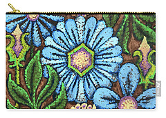 Brown And Blue Floral 1 Carry-all Pouch