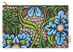 Brown And Blue Floral 2 Carry-all Pouch
