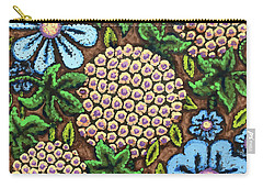 Brown And Blue Floral 3 Carry-all Pouch