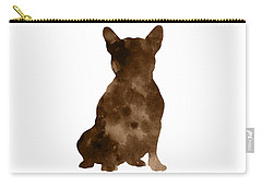 Brown Silhouette Of A Sitting Frenchie Carry-all Pouch