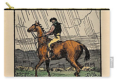 Carry-all Pouch featuring the painting Brown Stallion, Omey by Val Byrne