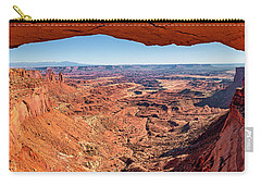 Carry-all Pouch featuring the photograph Buck Canyon Through Mesa Arch by Andy Crawford