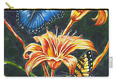 Butterflies And Flowers Sketch Carry-all Pouch