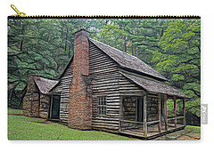 Carry-all Pouch featuring the digital art Cabin In The Woods - Fractals by Ericamaxine Price