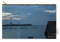 Carry-all Pouch featuring the photograph Caleta Cove At Dusk Between Castles Cadiz Spain by Pablo Avanzini