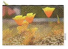 Californian Poppies On Basket Weave Carry-all Pouch