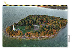 Carry-all Pouch featuring the photograph Cana Island Aerial by Adam Romanowicz