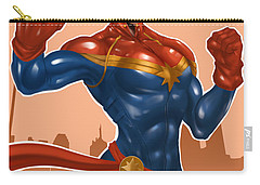 Carry-all Pouch featuring the painting Captian Marvel by Pete Tapang