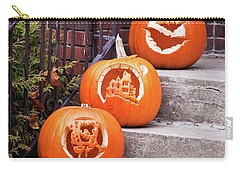 Carry-all Pouch featuring the photograph Carved Pumpkins For Autumn Holidays by Tatiana Travelways