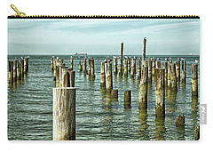 Carry-all Pouch featuring the photograph Casino Pilings At Cape Charles Virginia by Bill Swartwout Fine Art Photography