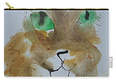 Cat Face Yellow Brown With Green Eyes Carry-all Pouch
