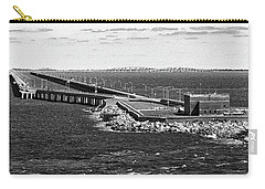 Carry-all Pouch featuring the photograph Chesapeake Bay Bridge Tunnel E S V A Black And White by Bill Swartwout Fine Art Photography