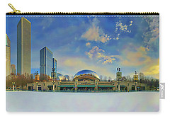 Carry-all Pouch featuring the photograph Chicago Skyline Millennium Park Ice Rink by Tom Jelen