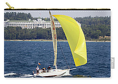 Carry-all Pouch featuring the photograph Chicago To Mackinac Yacht Race Sailboat With Grand Hotel by Rick Veldman