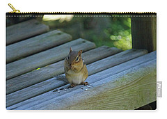 Carry-all Pouch featuring the photograph Chipmunk Eating Seeds by Angela Murdock