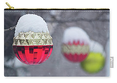 Carry-all Pouch featuring the photograph Christmal Balls Outside Covered By Snow - Snowy Winter Scene by Cristina Stefan