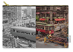 Carry-all Pouch featuring the photograph City - Dc - Road Closed For Repairs 1941 - Side By Side by Mike Savad