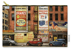 Carry-all Pouch featuring the photograph City - New York Ny - Elite Lunch Bar 1938 by Mike Savad
