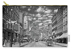 Carry-all Pouch featuring the photograph City - Ny - Main Street Poughkeepsie, Ny - 1906 - Black And White by Mike Savad